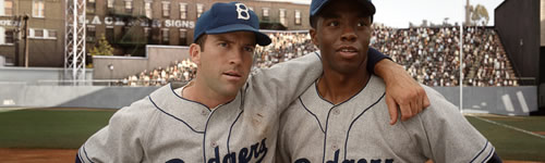Pee Wee Reese and Jackie Robinson in 42