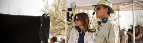 Roma Downey on the set of The Bible