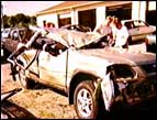 Blanche's crushed car after the accident