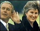 Karen Hughes with President George W. Bush
