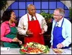 George Foreman showcases his Champion Grilled Tuna recipe with Pat Robertson and Kristi Watts