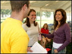 Amy Grant listens to people express their wishes.