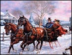 snowy scene with horsedrawn sleigh