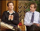 Kirk Cameron and Ray Comfort debate the existence of God. Photo courtesy of LivingWaters.com