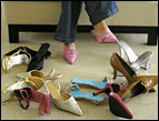 daily Devotion picture of closet floor cluttered with women's shoes
