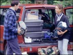 daily Devotion packing up car for evacuation