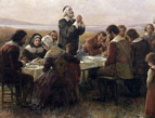 early English settlers americans eating thanksgiving meal