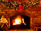 daily Devotion christmas fireplace fire logs