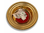 daily Devotion - offering plate with money in it