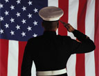 veterans day Devotion military man in uniform saluting american flag