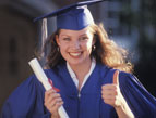 woman graduating thumbs up