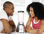 couple with a blender