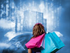 consumer woman shopping bags and digital skyline