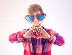 goofy valentine guy with heart glasses