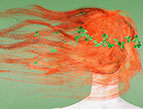 artists painting of redhead woman with shamrocks in her hair