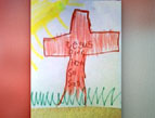 child's drawing of a cross