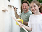 daily Devotion teen painting house with father