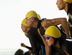 determined triathlete racers