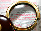 red letter Bible - magnifying lens