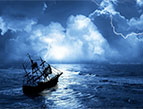 ship at sea in storm